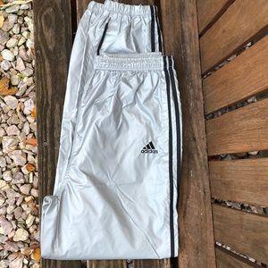 Silver adidas parachute pants